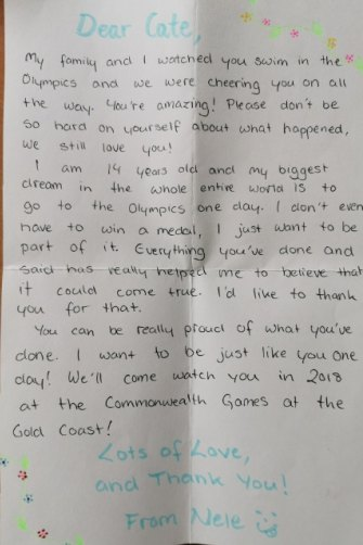 Letters written by Elin and Nene Schulz, to Cate Campbell after the 2016 Rio Olympics.