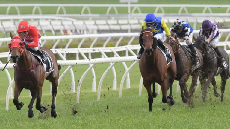 Another success: Kerrin McEvoy rides Redzel to victory in Saturday's Everest.