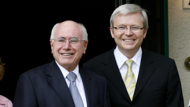 John Howard and Kevin Rudd at The Lodge in 2007, after Howard lost the election.