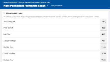 The Sportsbet market for Fremantle's next senior coach, with Alastair Clarkson fourth favourite.