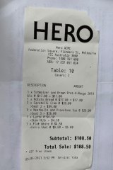 Receipt for lunch at Hero.