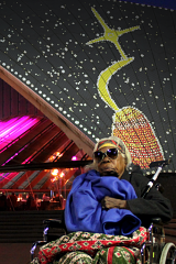 Mabel Juli with an artwork inspired by the Garnkiny site projected onto the Sydney Opera House in 2018.