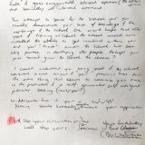 Poison pen letter: The letter sent by a young Whittaker to his student rival Ben Widdicombe.