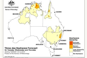 By the middle of next week, a large area of Australia will be in a heatwave of varying severity.