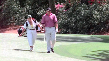 Throwback: Nick Faldo and his caddy, Fanny Sunesson, at the 1999 Masters.