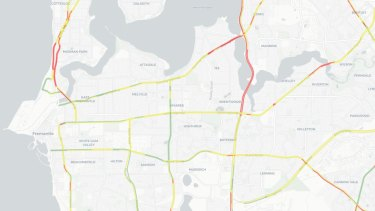 Congestion on major roads in 2031: The colours represent the average level of congestion on major roads during AM peak.