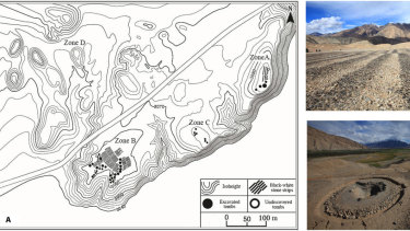 A larger map of the Jirzankal cemetery in China (left) and details of the landscape where researchers found the braziers.