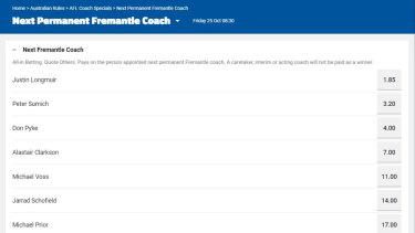 The Sportsbet market for Fremantle's next senior coach, with Alastair Clarkson fourth favourite.