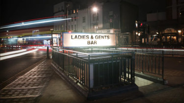Ladies & Gents in Kentish Town, London - at night - a basement bar in a former public toilets.