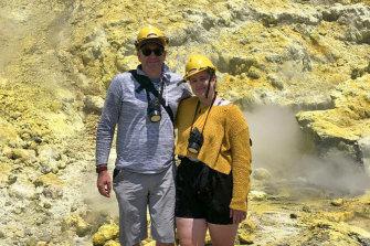 Lillani Hopkins, 22, and her father, Geoff, on Whakaari/White Island minutes before it erupted.