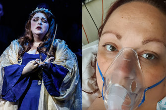 Australian opera singer Helena Dix, performing in Norma for Melbourne Opera last year (left), and in a British hospital (right) after developing a large blood clot in her lungs .