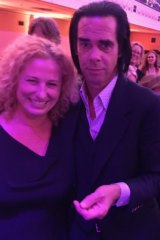 Wendy Squires with her all time idol, Nick Cave; for whom she could not quite find the right words.