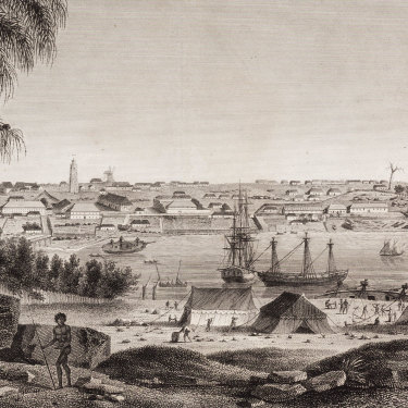 Many languages were already spoken across the continent when the British arrived. This image shows the mouth of Sydney's Parramatta River c 1801.
