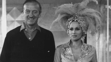 British actor David Niven, one of the spies in the original Casino Royale and Ursula Andress, who played the original Vesper Lynd.