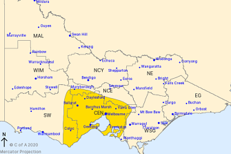 The Bureau of Meteorology issued a severe weather warning for people in Central and parts of South West and North Central Forecast Districts.