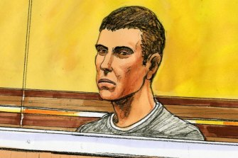 A sketch of Tyler Skerry in court on Tuesday.