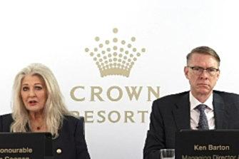Crown chair Helen Coonan and chief executive Ken Barton at Crown's virtual general meeting.