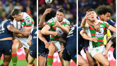 The enforcer: Sam Burgess is crunched by Felesi Kaufusi in the qualifying final at AAMI Park in Melbourne.