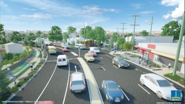 An artist's impression of the proposed stage one of the Wynnum Road upgrade, showing the intersection with Heidelberg Street, East Brisbane.