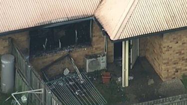 The remnants of the Zillmere unit after the fire on Monday afternoon.