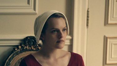 Elisabeth Moss in a scene from The Handmaid's Tale.