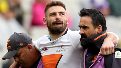 Coniglio injury compounds Giants' heavy defeat by Tigers