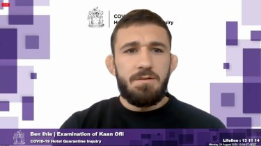 Returned traveller Kaan Ofli appeared before the hotel inquiry on Monday.