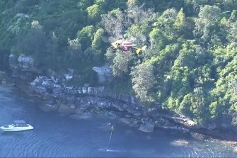 The search and rescue operation off Obelisk Beach on Monday.