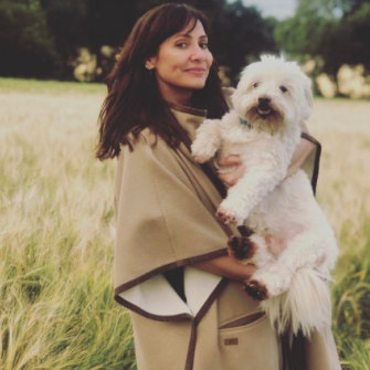With her Maltese terrier, Mr Wilson, in 2014.