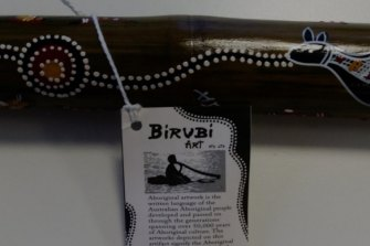 "An example of a Birubi souvenir didgeridoo falsely advertised as ""Aboriginal"" when in fact it is manufactured in Indonesia."