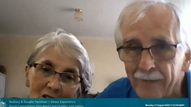 Rodney and Rosalie Foreman give evidence to the Royal Commission into Aged Care Quality and Safety via video link.