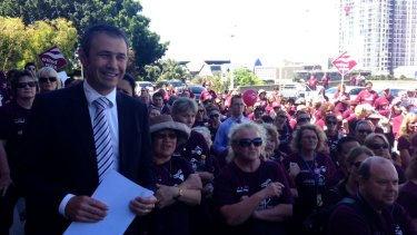 Health Minister Roger Cook at a rally of education and hospital workers in 2012 when Labor was in opposition.