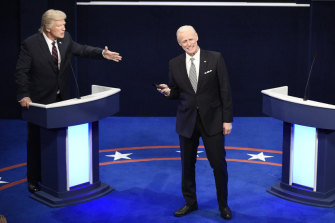 Alec Baldwin as Donald Trump and Jim Carrey as Joe Biden on <i>Saturday Night Live</i> last month.