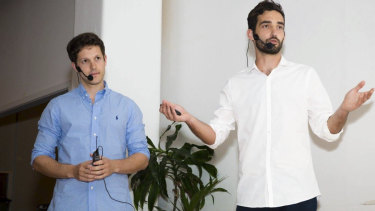 Founders of men's health tech startup Mosh, David Narunsky and Gabe Baker.