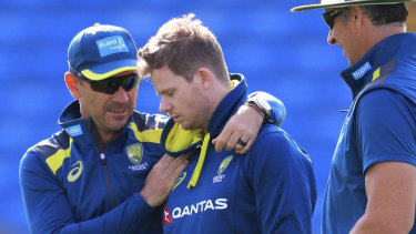 Australia coach Justin Langer, left, and Steve Smith during a nets session at Headingley on Tuesday.
