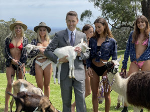 "Racing scion Tom Waterhouse and his ""family"", minus wife Hoda, mother Gai and sister Kate."