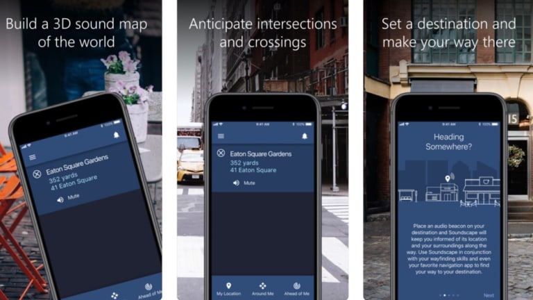 Screens from the US version of the Soundscape app.