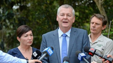 Mark Townend at the launch of the Koala Advisory Council at Australia Zoo  with Environment Minister Leeanne Enoch.
