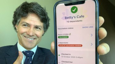 NSW Customer Service Minister Victor Dominello shows off the proposed proof of vaccination feature in the ServiceNSW app.