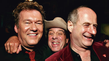 Michael Gudinski (right) with Jimmy Barnes and Molly Meldrum.