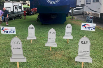 "Gravestones of ""slain"" political adversaries tweeted by Mitch McConnell's campaign team."