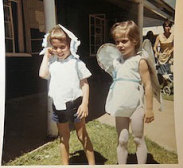 Tracey Schreier as an angel in the school play, with her twin brother Gavin.