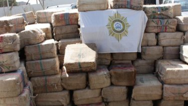 Some of the nine tonnes of cocaine found aboard a vessel crewed by 11 Russian sailors off the island of Cape Verde.
