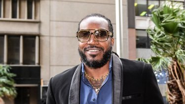 Chris Gayle arrives at the NSW Supreme Court in Sydney in October 2017.