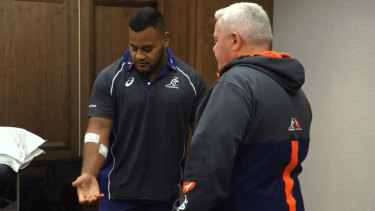 Taniela Tupou is patched up after he was robbed near the Wallabies team hotel in South Africa.