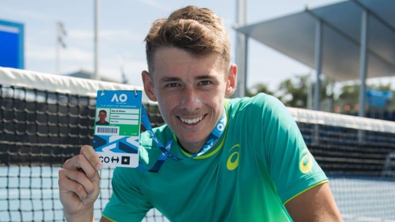 Young gun: Alex de Minaur after winning a wildcard entry to last year's Australian Open.