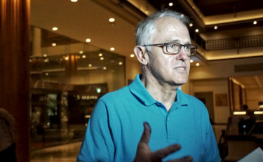 Malcolm Turnbull speaks to the media at his hotel in Bali ahead of his meeting with Indonesian President Joko Widodo on Monday.