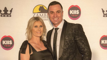 Shannon Noll and wife Rochelle at Kyle Sandilands and Imogen Anthony's Beauty and The Beast Charity Ball in aid of the Zambi Wildlife Retreat at The Star on Thursday.
