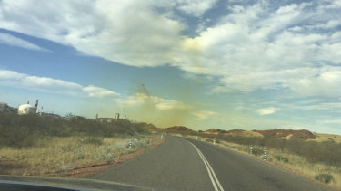 A photograph of air pollution in the area taken by a Karratha resident.