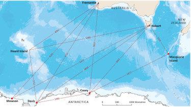 A map of Australia's Antarctic stations.